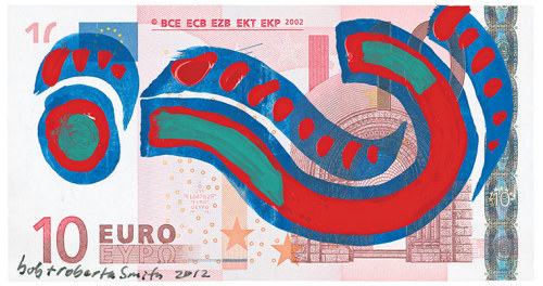 The artist Bob and Roberta Smith design Greece's new currency: 'The euro was the German mark. Now it is the Question Mark.'