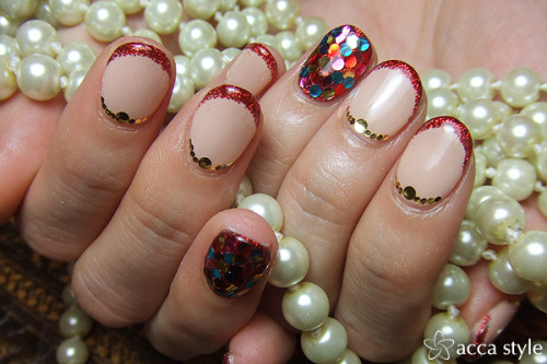 thisisnailporn:  Pearls and jewelled moons too much to handle
