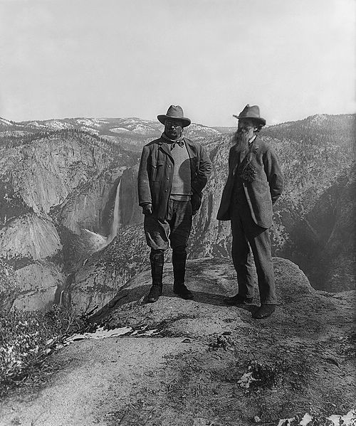 This is Roosevelt and John Muir at Yosemite, both wearing very nice hats, applause all round