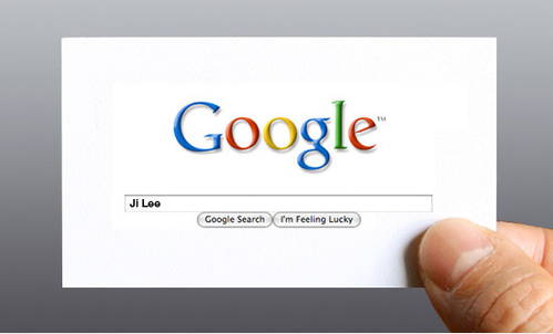Google me business card. Lovely simple idea as we do it anyway. http://www.designboom.com/weblog/cat/8/view/5882/google-me-business-card-by-ji-le.html