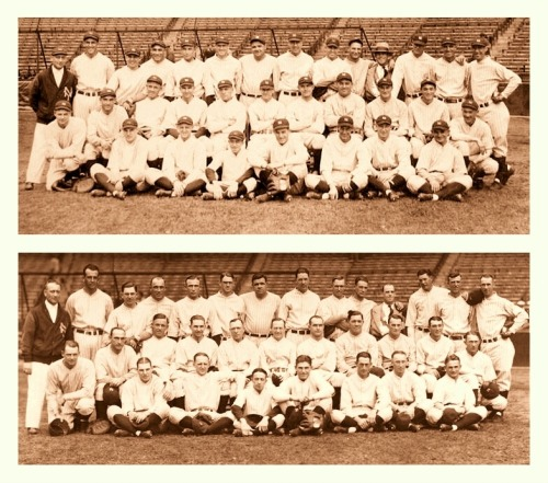 1926 New York Yankees Team - Caps On, Caps OffHere's an edit I made combining two pics I had of the '26 Yankees during the same photo shoot. One with their caps on, one with their caps off.
