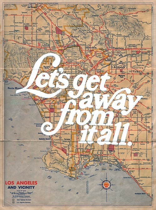 showslow:  Let's get away from it all by Mudchicken Acrylic on map, 2009
