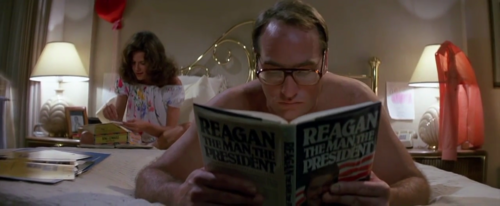 Steven Freeling of Poltergeist reading Reagan: The Man, The President by Hendrick Smith