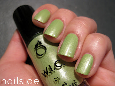 "WIC ""Banda Bou"" — a dusty pistachio polish with a delicate pearl shimmer (via Nailside: WIC by Herôme - Colourful Curaçao collection)"