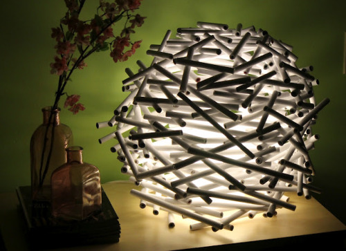 DIY Recycled Newspaper Bird's Nest Lampshade Tutorial. This is really easy but you need patience rolling up the newspaper (but really no cutting up into small pieces). Tutorial from WCC Designs here.