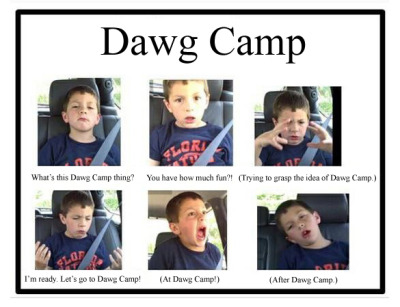 A visual representation of Dawg Camp. Graciously done by fourth-year Paco Payne from Canton, Georgia, majoring in Nutrition Science.