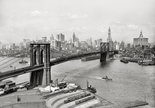 "bobbyaguilera:  New York circa 1915. ""Brooklyn Bridge, East River and skyline."" The Woolworth Building stars in this Lower Manhattan view, with the Singer, Bankers Trust, Hudson Terminal, Municipal and Park Row buildings as understudies. 5x7 inch dry plate glass negative, Detroit Publishing Company. View full size."