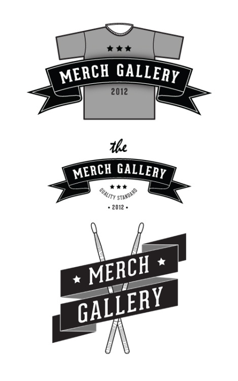 The Merch Gallery Just renew a logo for Sydney based online merchandise store, The Merch Gallery. They wanted something playful and bold so I came up with these logo options. They also planning to drop the 'The', so that's why I didn't use 'The' on two of the options.