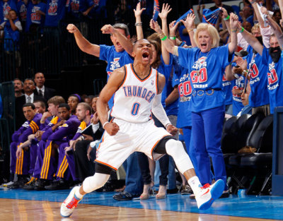Russell Westbrook helped the OKC Thunder eliminate the Lakers with a 106-90 home game win. The Thunder will face the Spurs in the Western Conference Finals.