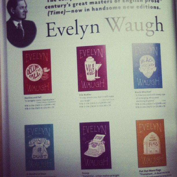 Loving the woodcut feel of these book cover illustrations for the Evelyn Waugh series from Back Bay Books. (Taken with instagram) ~Trent Gilliss, senior editor