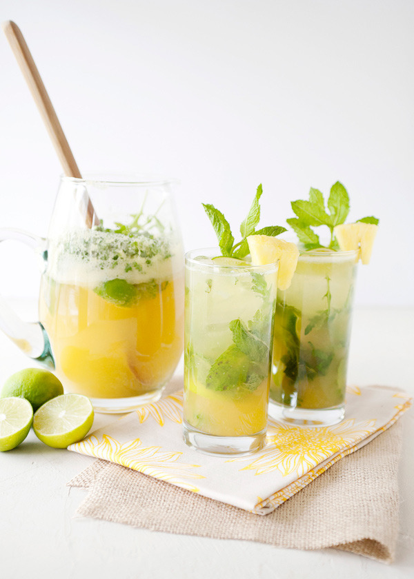 Our weekend cocktail of choice: pineapple arugula mojitos.