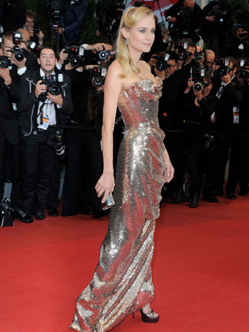 Diane Kruger is a perfect gold statue on the Cannes Red Carpet in this Vivienne Westwood gown!!  |Image via nymag.com|