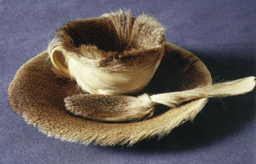 Meret Oppenheim, Object (Le Déjeuner en fourrure), 1936, fur-covered saucer, cup, and spoon.  Museum of Modern Art, New York