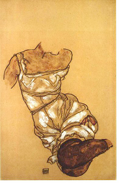 masterpiecedaily:  Egon Schiele Female Torso with Underwear and Stockings 1917