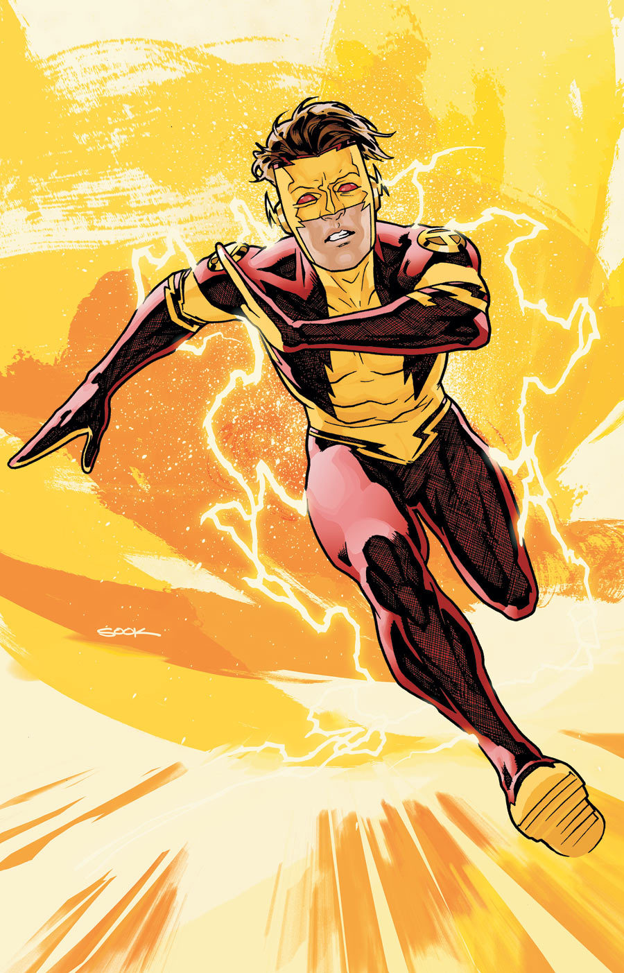 "love-and-radiation:  Ryan Sook's take on the nu52 Bart Allen.  If even Ryan Sook can't make me think this costume looks good it is completely busted. This just looks like a crappy knock-off, generic ""speedster"" from one of those RPGs that couldn't afford to actually license the DC characters."