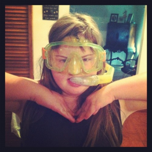 She wore this snorkel and goggles for an entire day when we went nowhere near the water.  Her life, her choices I guess.