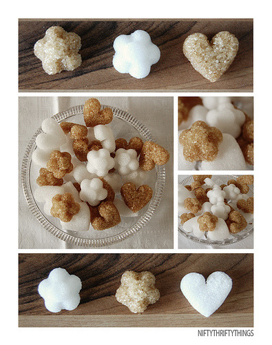 DIY Sugar cubes.  (Tip: try adding a little cinnamon to the sugar for a combo cube) Click the pic for the link.
