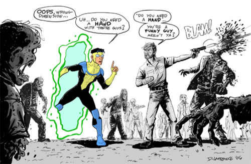 thecomicdead:  Invincible vs. The Walking Dead hahah this is hilarious!