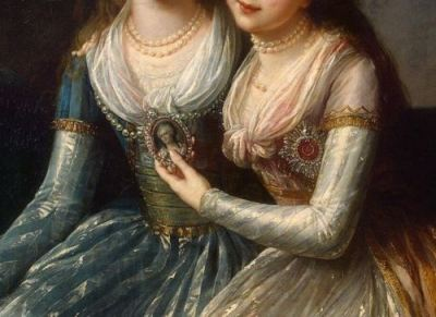 Elisabeth-Louise Vigee Le Brun, Portrait of Emperor Pavel I's Daughters (detail)