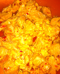 The leftover Breakfast of Champions… Spicy Chicken and eggs
