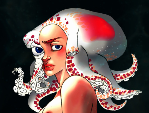 And here again, the Octogirl. =) I was thinking that this creature would be able to change her color, as ocotpusses do. Octopus can change their colors according to their environment and their feelings (fear, anger…).