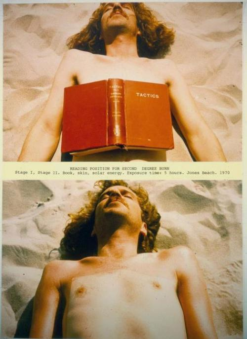 This week's art inspiration: Dennis Oppenheim, Reading Position for Second-Degree Burn. Courtesy of Thomas Solomon Gallery.