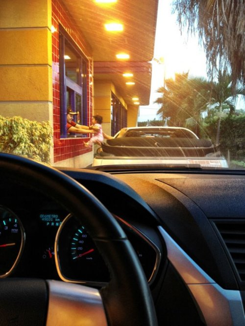 collegehumor:  Baby Ordered at Drive Through Hey, this was supposed to have pickles on it.