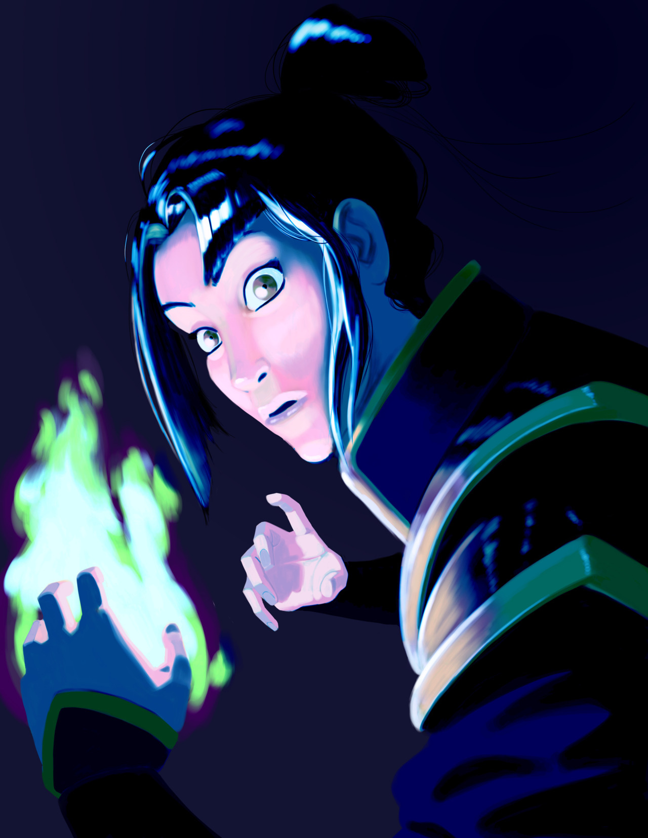 Well, that was embarrassing. In my foggy memory, Azula's fire was only blue sometimes, and so I thought it was okay to paint her with regular ol' yellow fire. I was informed that that was not the case, and so I have tried to use color balance filters to shift the colors in the file, with not entirely satisfactory results. I apologize for the earlier error, and would like to offer a full refund to any unhappy customers.