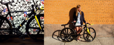 Riding around Soho. Diesel Black Gold men's jacket, Diesel dress, Cinelli Vigorelli frame.