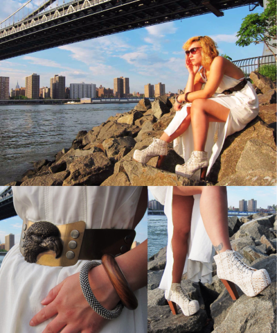 By the bridge. Diesel dress, shades and cuffs, Jeffrey Campbell Litas, Diesel Black Gold belt.
