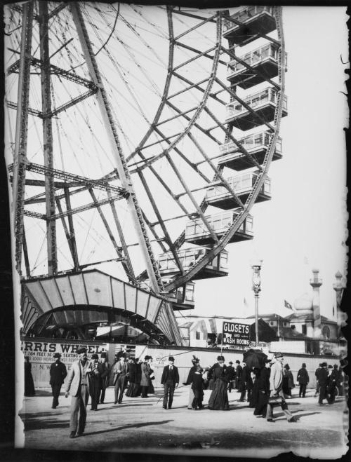 chicagohistorymuseum:  The original Ferris Wheel at the World's Columbian Exposition c. 1893. Photographer unknown. Want a copy of this photo? >Visit our Rights and Reproductions Department and give them this number: ICHi-21713