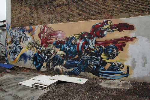Daily Graffiti: Ultimates Assemble! Spotted in London by mattskating. Check out the DAILY GRAFFITI ARCHIVES for more geektastic street art!