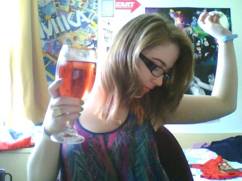 I nicked a a Stella Artois chalice from the kitchen and filled it with Vimto and ice. It's a sunny day today. My room smells of fresh washing and the BBQ outside. I'm 1000/2000 words into my essay that's due on Thursday… the end is in sight! YAY!