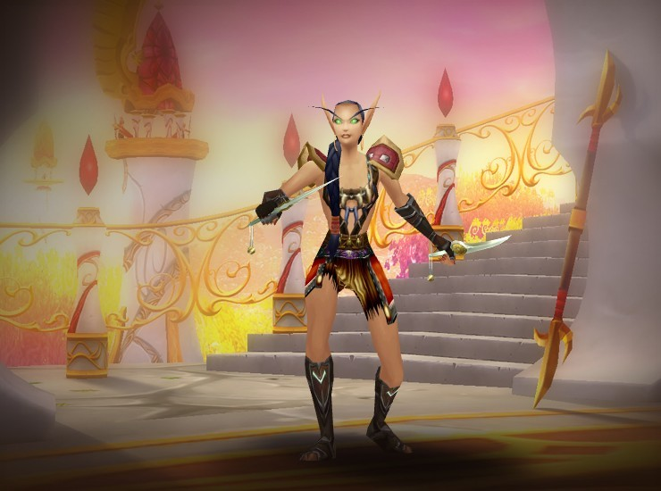 Rucceeka Jenkins Female Blood Elf Rogue EU Bloodscalp [Barbaric Shoulders] [Barbaric Harness] [Ruthless Gladiator's Armwraps of Alacrity] [Ruthless Gladiator's Leather Gloves] [Cataclysmic Gladiator's Waistband of Accuracy] [Cabalist Leggings] [Ruthless Gladiator's Boots of Alacrity] [Julie's Dagger] [Julie's Dagger]