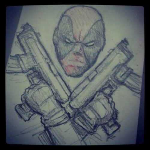 Deadpool sketch. Follow me on Instagram: DOOMCMYK I post all my latest sketches there first.
