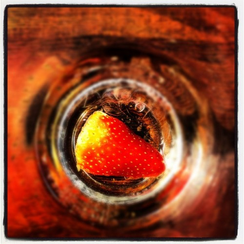 Strawberry | #fruit #london #soho #glass #drink #summer #ice #wood #food (Taken with instagram)