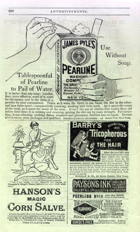 Corn Salve, Tricopherous for the hair, Peterson's, May 1889