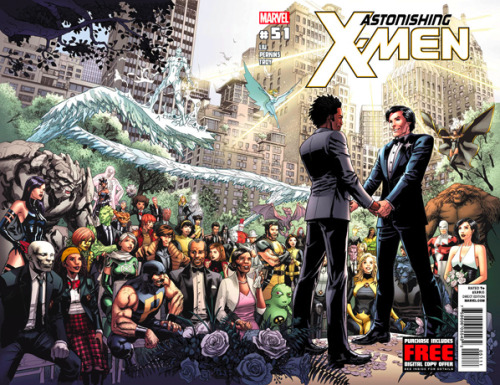 clockworkjerk:    Marvel Comics makes history with a gay X-Men marriage.Marvel Comics' Astonishing X-Men is set to experience a new sound effect on top of its booms, whams, and sknits: the bong of wedding bells. Specifically, it's the wedding bells of Marvel's first gay marriage between longtime X-Man Northstar and his civilian boyfriend, Kyle. After pairing up the couple in 2009, Marvel is officially tying their knot in June's Astonishing X-Men #51.(x)   Marvel. Every time you do something stupid and make me hate you again, you turn around and do something wonderful.   This is so adorbs.