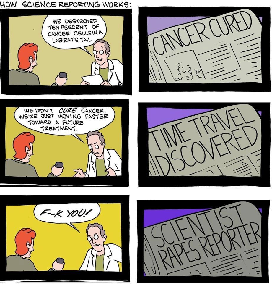 "sciencepopularis:  Oh so true…. Credit: SMBC  Yeah … There are a number of good science reporters out there … but this pretty much nails it. The problem with science journalism is that often, science journalists have nothing to do with it. It's some beat reporter who hasn't taken biology since 11th grade who has to drop off 800 words to the editor in three hours. So they re-write a press release and slap a flashy headline on it. Or they post something from Science Daily, which is not a news site, but rather a press release posting site. If you need suggestions on where to get good science news, check out my links page. Don't miss PHD Comics' take on the science news cycle, and my post about ""how to read a science news article""."