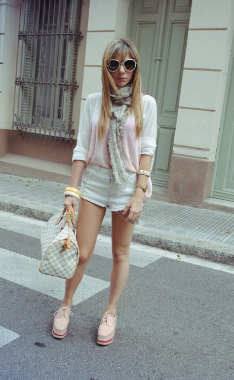 The Huntrend on facebook, twitter, lookbook Sweater: Mango Shorts: Topshop Shoes: Jeffrey Campbell Bag: Louis Vuitton Sunglasses: Prada Accessories: Mango and H&M