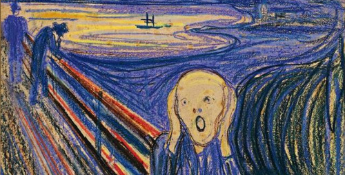 """The Scream"" Comes to Sotheby's: One of four versions of Edvard Munch's iconic painting — and the only one still in private hands — will be sold at Sotheby's May sale of Impressionist and modern works. As one of the most iconic images of all time, you can expect the ghoulish work to fetch a pretty penny: The 1895 pastel-and-board composition carries a value of at least  $80 million, according to the auction house. [Bloomberg] Sold for $90 million this late May. I call it my little brother's creepy book-drawing scribbles. Probably an old guy who bought it! Wallstreet Losers. ;l"