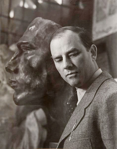 The sculptor Arno Breker at the Foundry of Rudier, Paris, 1941 -by Robert Doisneau [Ref.: 'The monumental is my sickness' - Interview of Arno Breker by Andre Müller, 1979] from damienleclere
