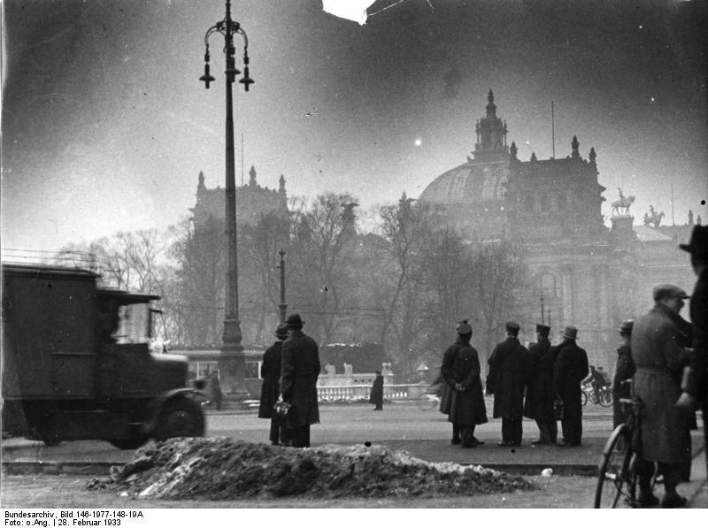timetravelwillbepossible:  The Reichstag building in the morning after the fire, Berlin, Germany, 28 Feb 1933 More on the Reichstag fire