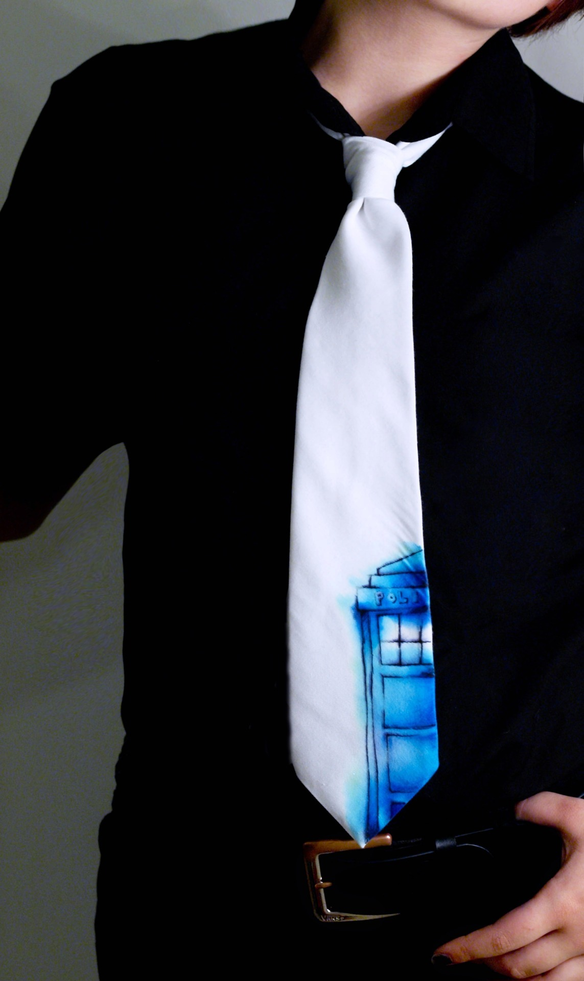 whocrafts:  My TARDIS tie. Soon to be available on etsy. (submitted by monstersinmybathtub)