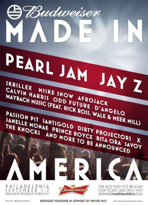 The line-up for Jay-Z's Made In America tour has just been announced. Check it.