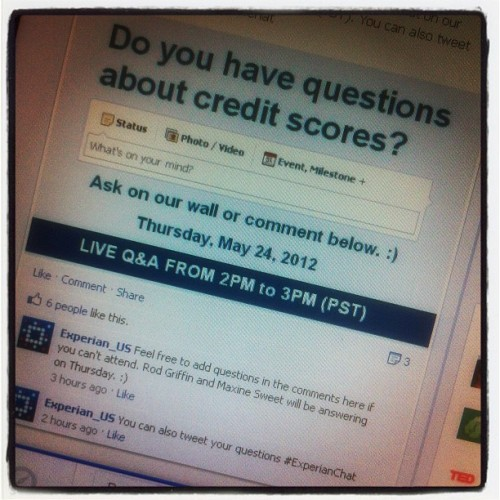 Join our live Facebook chat on Thursday, May 24 at 2PM (PST) to get your credit questions answered. facebook.com/ExperianUS