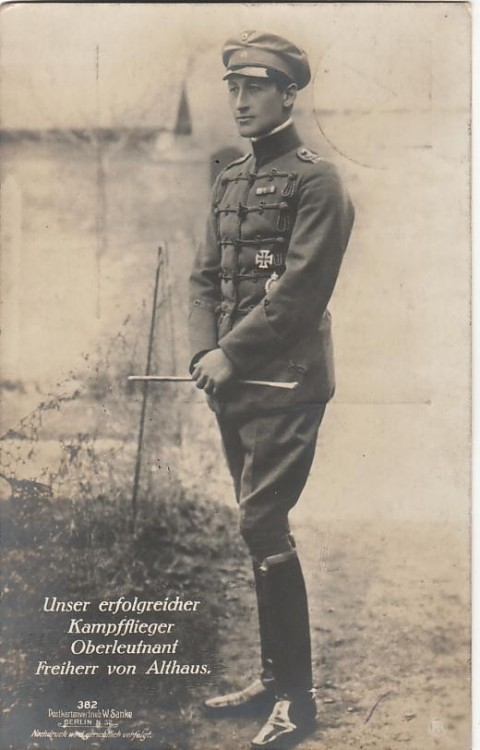 lostsplendor:  Ernst Freiherr von Althaus, German Pilot c. 1916  He was a German flying ace in World War I, credited with nine confirmed aerial victories, as well as eight unconfirmed ones. He was one of the original Fokker Eindekker pilots who became known collectively as the Fokker Scourge. He was also quite attractive.