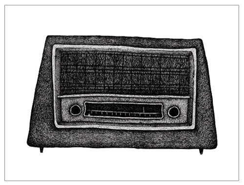 "My radio drawing, along with a few others, are now available as 10"" x 8"" mounted prints in my etsy shop!"