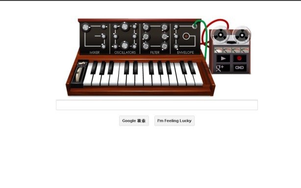 Live Out Your Synth Pop Dreams with Google's Moog Doodle  Tomorrow, Google is celebrating Robert Moog, creator of a modern synthesizer, whose 78th birthday would have been Wednesday, according to The Next Web. The synthesizer has a keyboard you can play with your mouse as well as oscillators, filters, and a mixer, and you can record and send people your creations. [Image: Google]