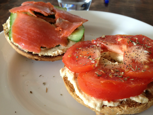 Tomato/hummus on sprouted bagel and cucumber/lox/hummus on other half of bagel. One of my favorite lunches.